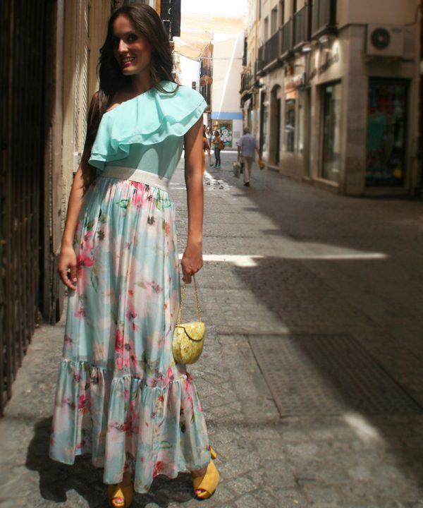 Vestido de Fiesta Celeste con estampado de flores. Comprar Online.